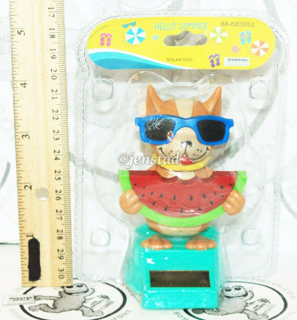 "SOLAR POWER - DOG WITH WATERMELON & SUNGLASSES DANCING TOY 4"" FIGURE NEW"