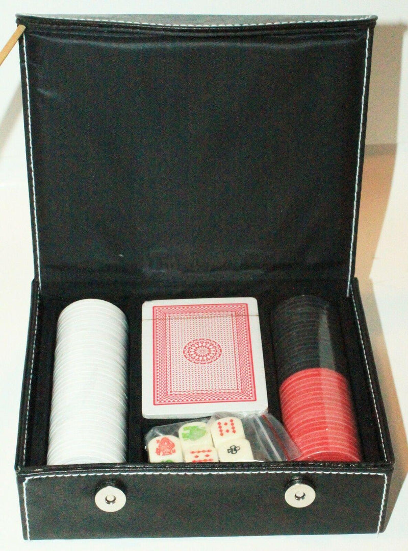 2 LOT - POKER CARD FULL SET W/ CHIPS + CASE & TABLE MAT COVER 23x34 NEW