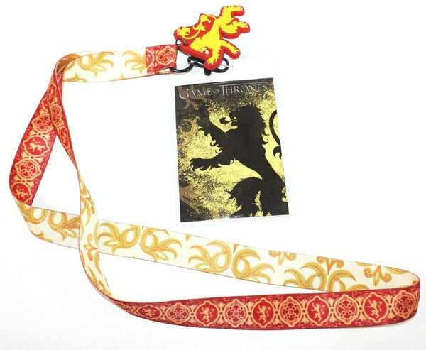 "LANNISTER SIGIL LION GAME OF THRONES GOT TV FAN 22"" LANYARD + CHARM + ID HOLDER-EZ Monster Deals"