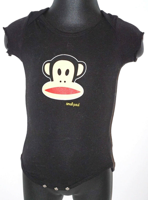 SMALL PAUL - MONKEY FACE ONE PIECE BABY SUIT 3-6 MTH SHORT SLEEVE USED - EZ Monster Deals