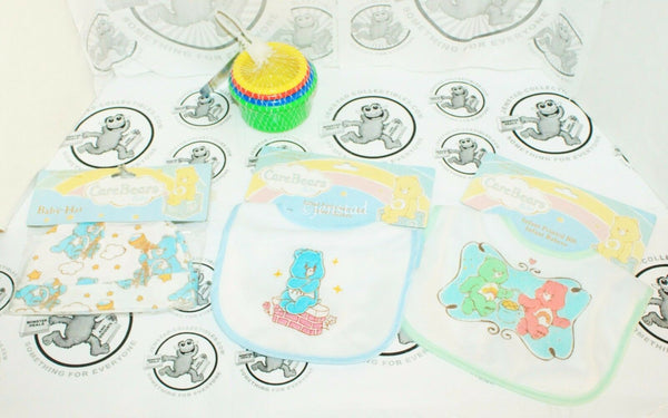4 LOT -  CARE BEARS BIB W/ CAP & SESAME STREET STACKING COLOR 4 CUP TOY GAME NEW