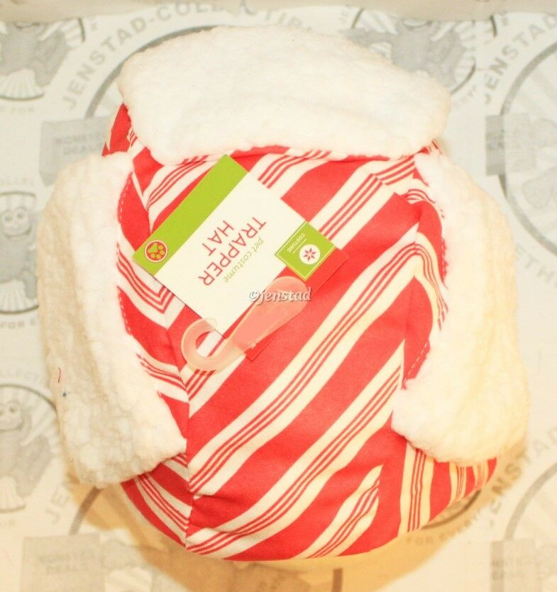 DOG PET M/L STRIPE TRAPPER HAT BOMBER CAP HOLIDAY PET HEAD COSTUME MEDIUM/LARGE