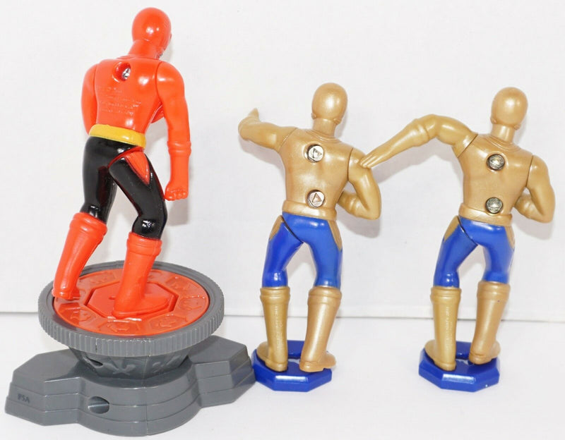 3 LOT - POWER SAMURAI RANGERS RED & GOLD MCDONALDS TOY FIGURES USED 2011 - EZ Monster Deals