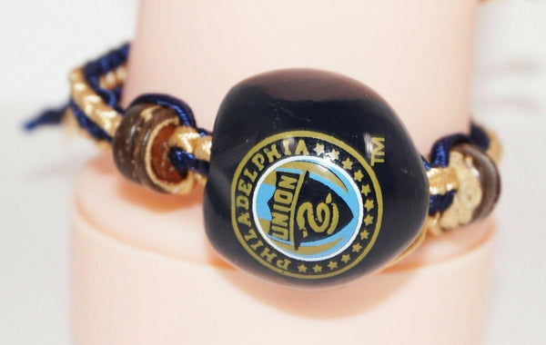 PHILADELPHIA UNION MLS - SINGLE KUKUI NUT + MACRAME BRAID BRACELET SOCCER FUTBOL - EZ Monster Deals