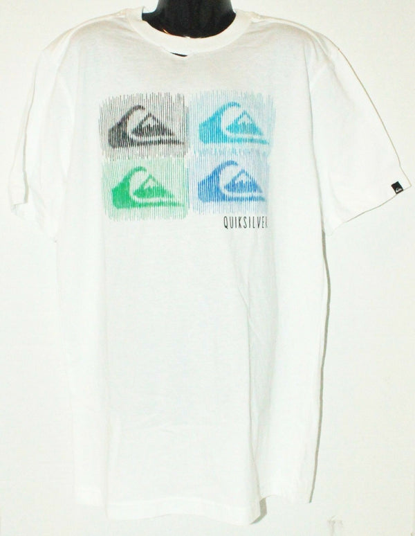 QUIKSILVER MULTICOLOR BARRED TEE - KIDS APPAREL WHITE SHIRT YOUTH SIZE LARGE NEW - EZ Monster Deals