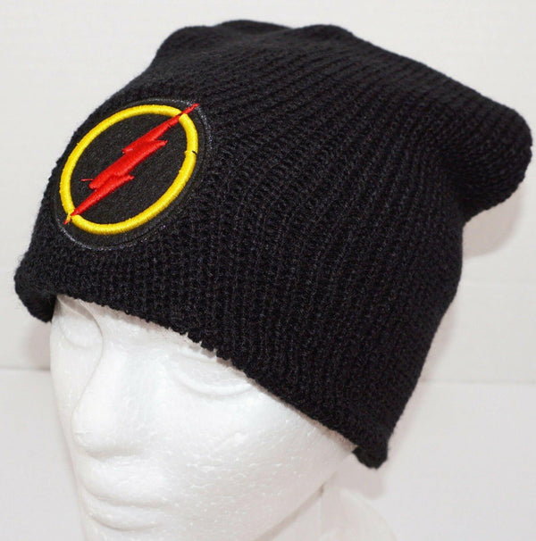 THE FLASH LOGO DC COMICS - WINTER KNIT BLACK BEANIE CAP UNCUFFED 2017 NEW-EZ Monster Deals