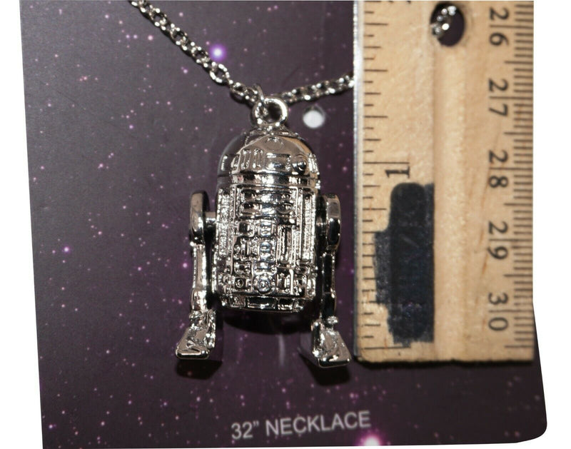 R2-D2 JOINTED DROID - METAL SILVER 3D NECKLACE DISNEY STAR WARS HEROES NEW