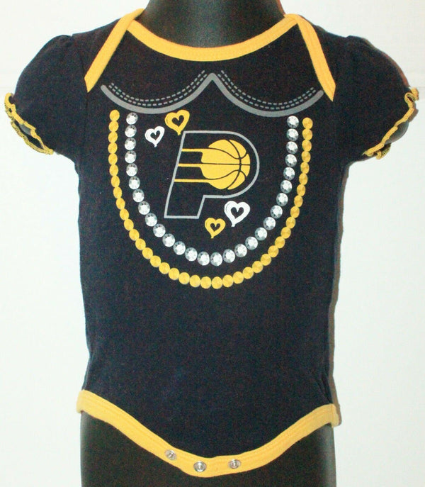 INDIANA PACERS NBA LOGO ONE PIECE BABYSUIT BASKETBALL 0-3 MTHS SHORT SLEEVE USED-EZ Monster Deals