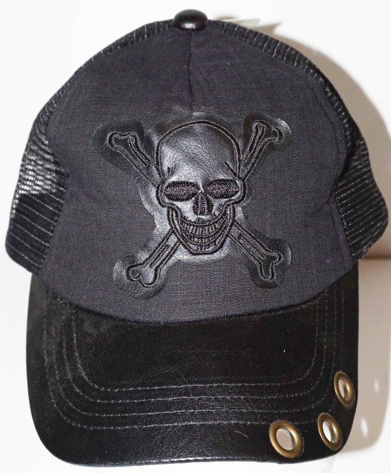 PUGS GEAR - SKULL OR PIRATE BLACK ADULT HAT CASUAL WEAR TRUCKER MESH STYLE NEW