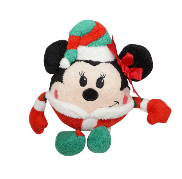 "Disney Store Vintage - Xmas Minnie Mouse Elf Round Plush Toy 8"" Figure 90/00s"