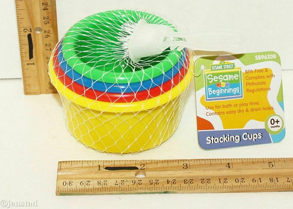 ONE SET - SESAME STREET BEGINNINGS - STACKING 4 CUPS TOY GAME FOR 0+ BABY 2012 - EZ Monster Deals