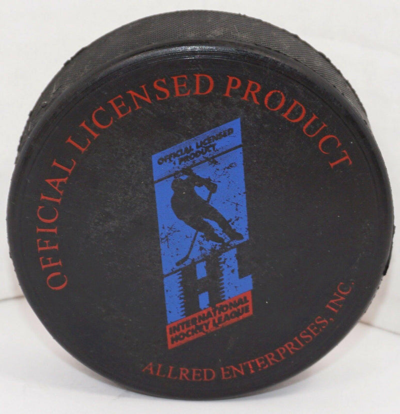 LONG BEACH ICE DOGS HOCKEY PUCK GOLD LOGO OFFICIAL MINOR LEAGUE HOCKEY STYLE