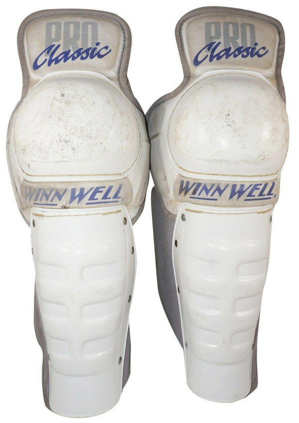 WINNWELL 15'' WHITE HOCKEY SHIN GUARD PAD - VINTAGE PRO CLASSIC MODEL USED 1990s