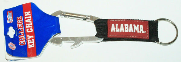 NCAA ALABAMA CRIMSON - BOTTLE OPENER SILVER CARABINER KEY TAG & KEYCHAIN-EZ Monster Deals