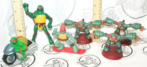 6 LOT - RAPHAEL TMNT TEENAGE MUTANT NINJA TURTLES MCDONALDS TOY FIGURES USED - EZ Monster Deals