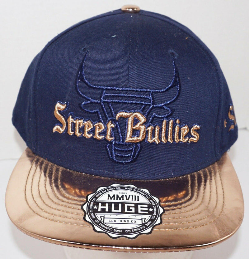 STREET BULLIES NAVY GOLD - ADULT SIZE CAP BY HAT HUGE CLOTHING CO NEW - EZ Monster Deals