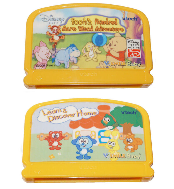 2 Vtech V.Smile Baby - Pooh Hundred Acre Wood + Learn Discover Home Cartridges