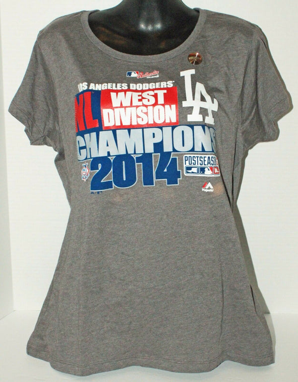 LOS ANGELES LA DODGERS NL WEST DIVISION CHAMPION JUNIOR SMALL GREY SHIRT 2014