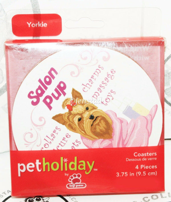 "YORKIE YORKSHIRE TERRIER DOG PET HOLIDAY DOGGIE 4"" CORK COASTER 4 ONE SET NEW - EZ Monster Deals"