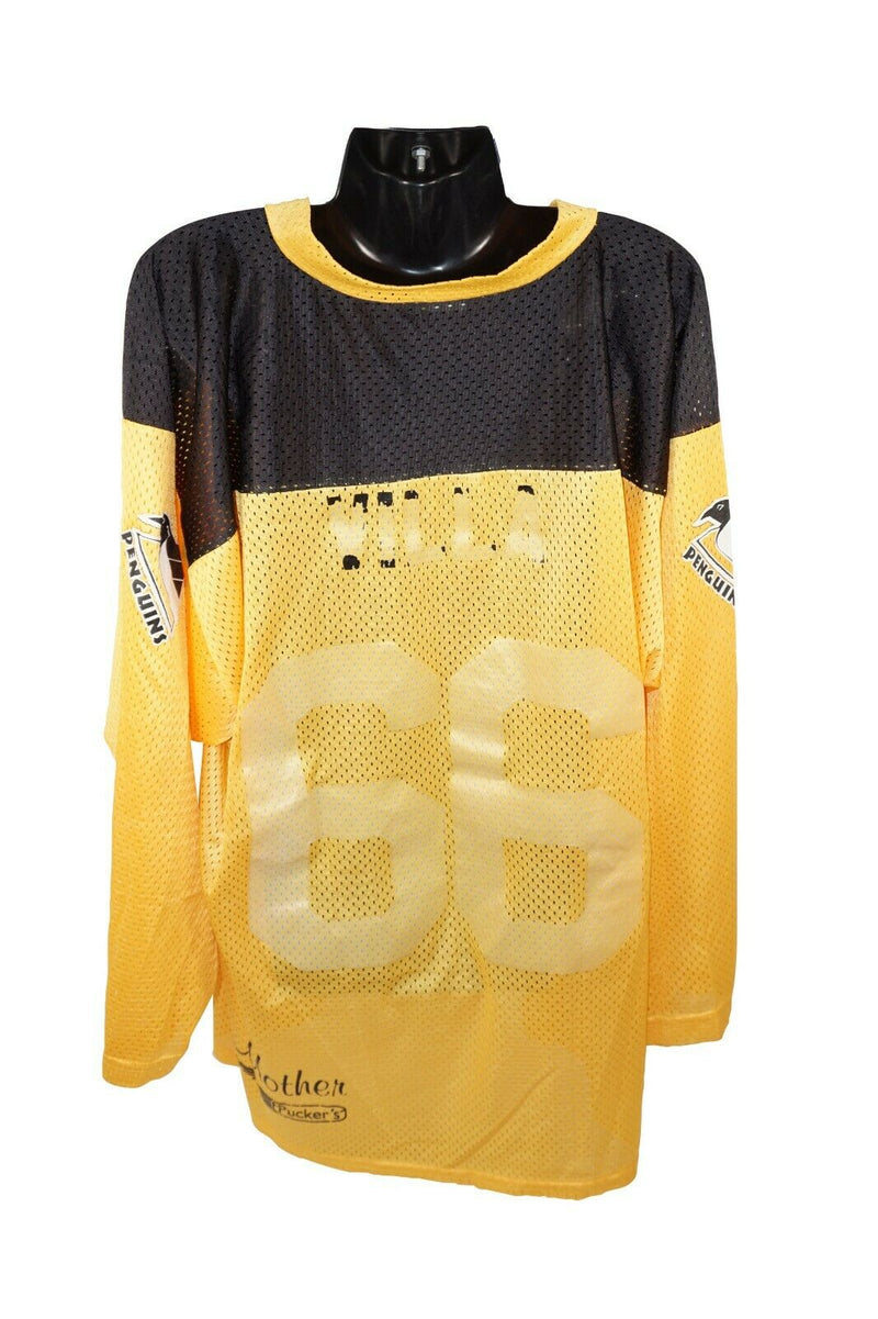 PENGUINS YTH L/XL HOCKEY YELLOW BLACK JERSEY - YOUTH LARGE XL USED