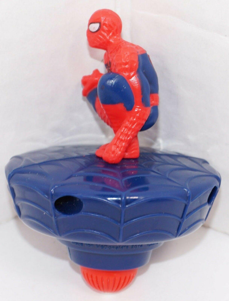 "SPIDERMAN MARVEL COMICS SPIN TOPPER - SPIDEY 3"" TOY FIGURE MCD'S 2014 USED - EZ Monster Deals"