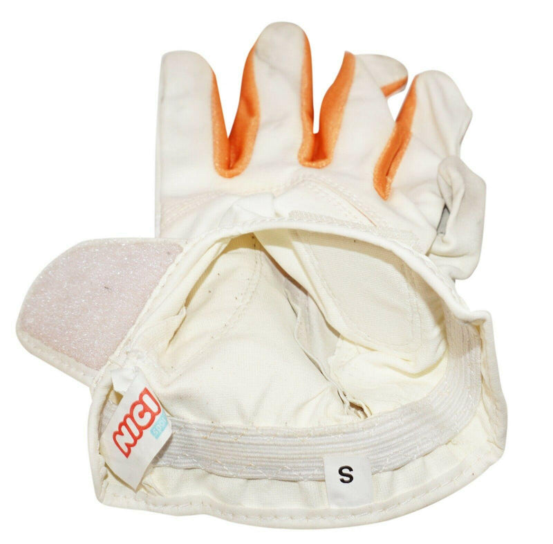 NICI SPORTS 2ND GOLF EDITION - MENS LEFT SMALL GOLF WHITE LEATHER GLOVE USED - EZ Monster Deals