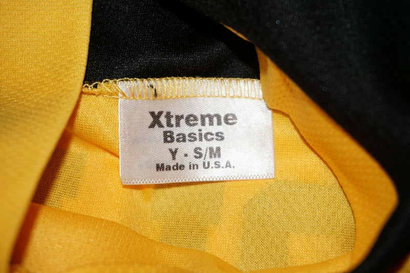 XTREME BASICS YTH S/M YELLOW BLACK HAWKS HOCKEY JERSEY - YOUTH SMALL MEDIUM USED