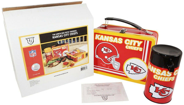 KANSAS CITY CHIEFS NFL FOOTBALL LICENSED METAL TIN LUNCH BOX + THERMOS 2007 - EZ Monster Deals