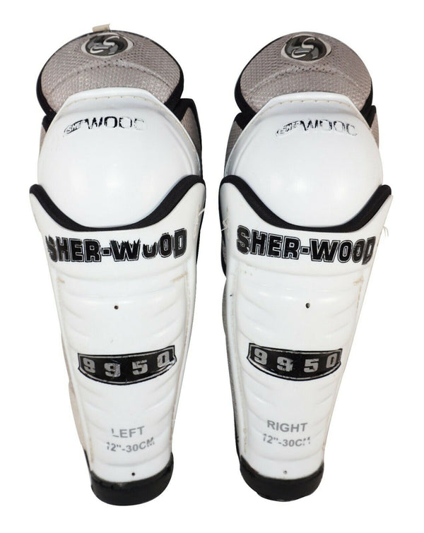 "SHERWOOD 9950 ICE OR ROLLER HOCKEY JR SHIN GUARDS -  JUNIOR SIZE 12"" USED"