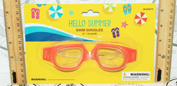 "HELLO SUMMER SWIM ADULT  6"" GOGGLES ORANGE WITH CLEAR STRAP FOR POOL BEACH NEW - EZ Monster Deals"