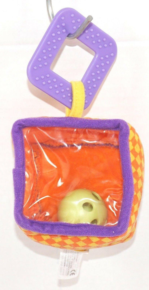 "INFANTINO PEEK RATTLE & TEETHER CUBE LOOP - 3"" BABY SOFT TOY USED 2007 - EZ Monster Deals"