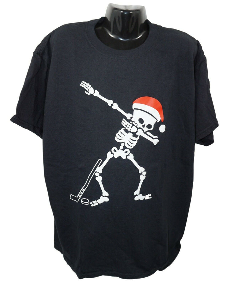 SKELETON DAB DANCE W/ SANTA HAT - BLACK HOCKEY XL SHIRT YOUTH KIDS XLARGE USED - EZ Monster Deals