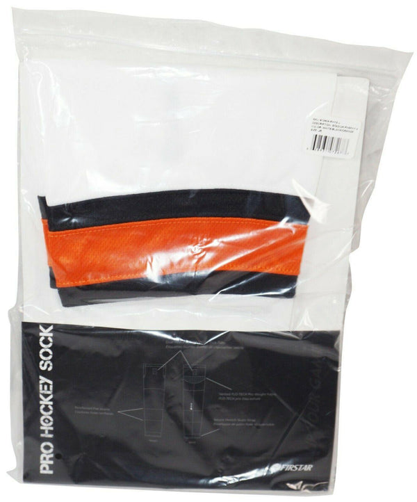 "FIRSTAR 24"" JUNIOR ICE HOCKEY STADIUM SOCKS PRO DESIGN - WHITE BLACK ORANGE NEW - EZ Monster Deals"