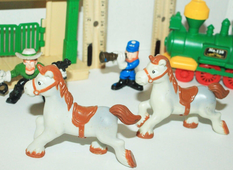 11 PC LOT KIDDIE TOWN + TRAIN + TOY FIGURES + STATION + HORSE & ETC PLAYSET USED - EZ Monster Deals