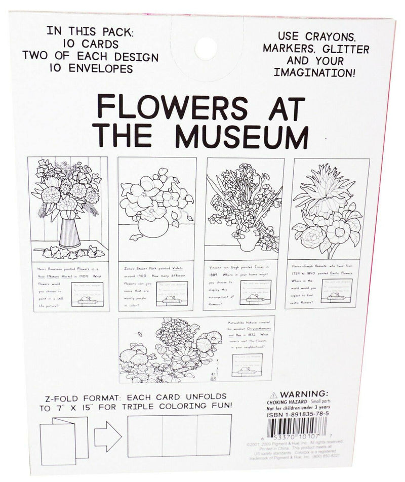 FLOWERS AT MUSEUM W/ 4 CRAYONS - 10 COLOR-PIX CARDS + 10 ENVELOPES NEW 2009 - EZ Monster Deals