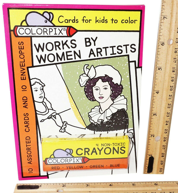 WORKS BY WOMEN ARTISTS - 4 CRAYONS + 10 COLOR-PIX CARDS + 10 ENVELOPES NEW 2008 - EZ Monster Deals