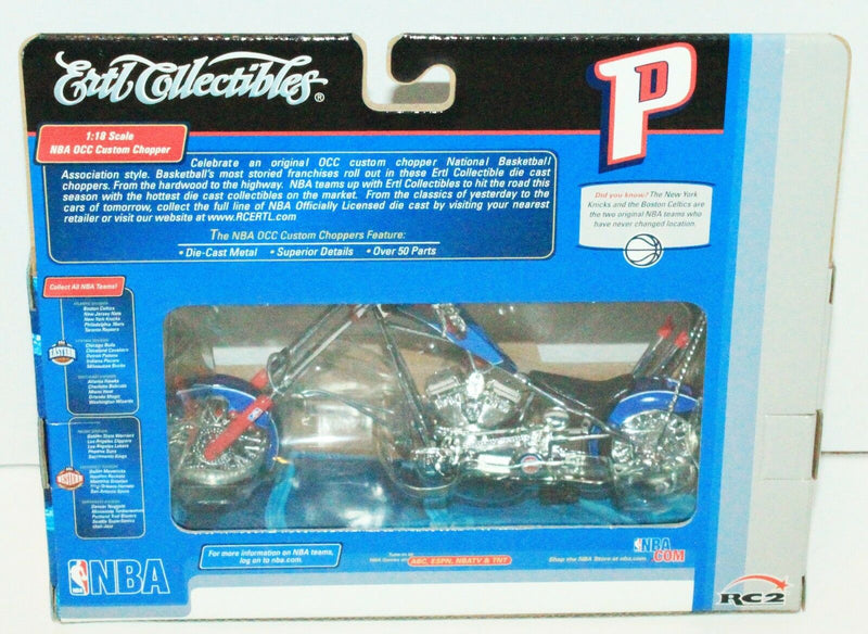 DETROIT PISTONS NBA BASKETBALL 1:18 OCC CHOPPER TOY DIECAST MOTORCYCLE ERTL 2005