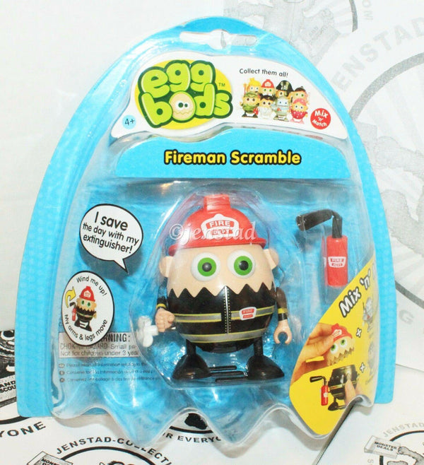 "EGGBODS FIREMAN SCRAMBLE - WIND-UP & WALKING TOY 3"" EGG FIGURE 2011 NEW - EZ Monster Deals"