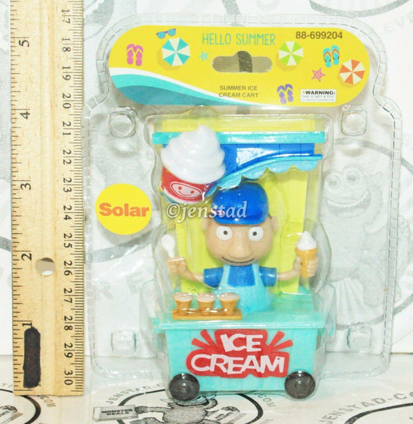 "SOLAR POWER - ICE CREAM MAN IN TRAIN CART DANCING TOY 4"" FIGURE NEW"