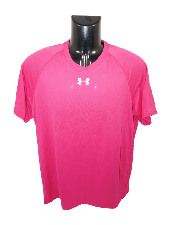 UNDER ARMOUR LOGO'D HEATGEAR - PINK L SHIRT ADULT LARGE 2015 - EZ Monster Deals