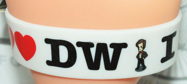 DOCTOR WHO BBC DW - RUBBER WHITE WRISTBAND I DOUBLE HEART DOCTOR WHO NEW 2012