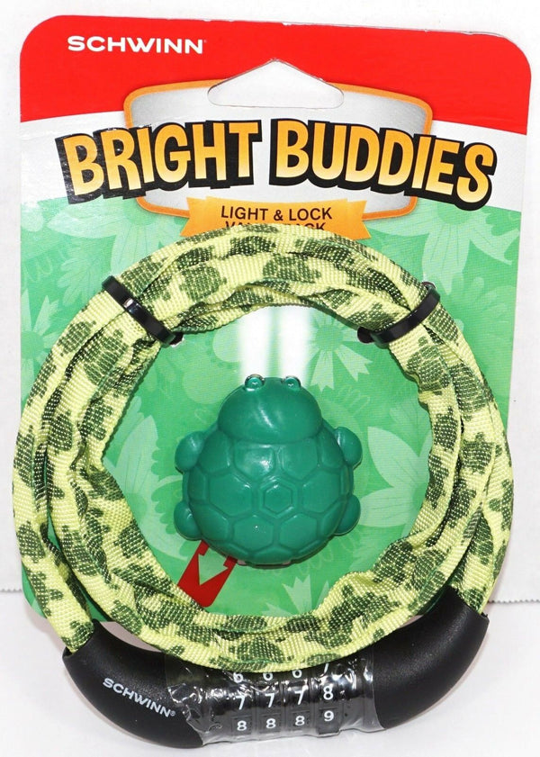 SCHWINN BRIGHT BUDDIES - GREEN TURTLE THEME LED LIGHT & BIKE LOCK CHAIN NEW 2017-EZ Monster Deals