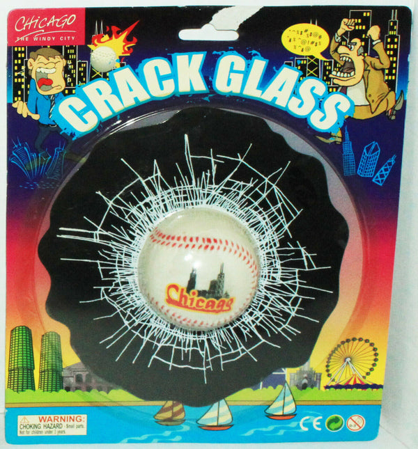 CHICAGO CITY - CRACKED GLASS BASEBALL IN WINDOW COVER NOVELTY GIFT TOY NEW-EZ Monster Deals