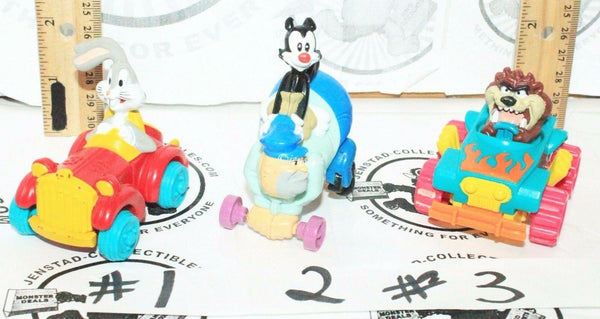 "3 LOT - BUGS BUNNY ANIMANIACS TAZ 2.5"" TOY FIGURE CAR LOONEY TUNES VEHICLES 1992"
