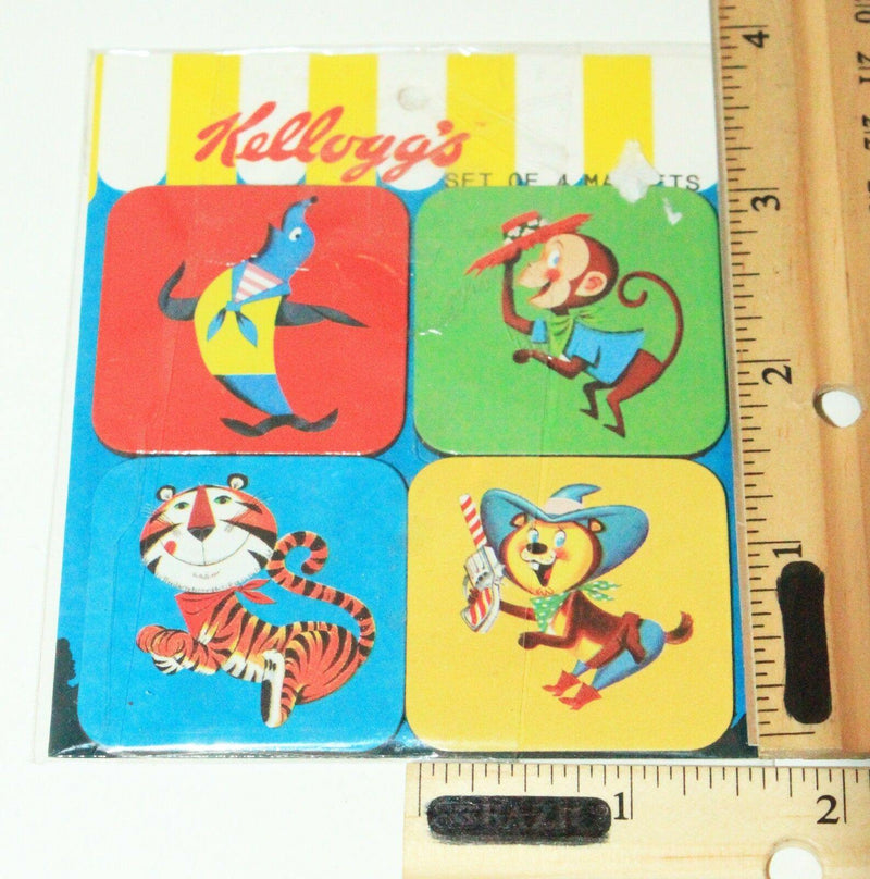 ONE SET - 4 KELLOGG'S CEREAL ANIMAL LOGO VINTAGE DESIGN COLLECTIBLE MAGNETS 2005 - EZ Monster Deals