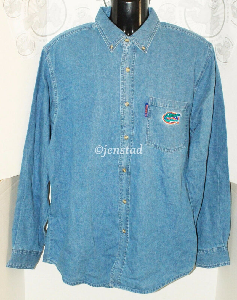 FLORIDA GATORS NCAA SPORTS OR FOOTBALL DENIM LONG BUTTON DOWN SHIRT MENS SMALL - EZ Monster Deals