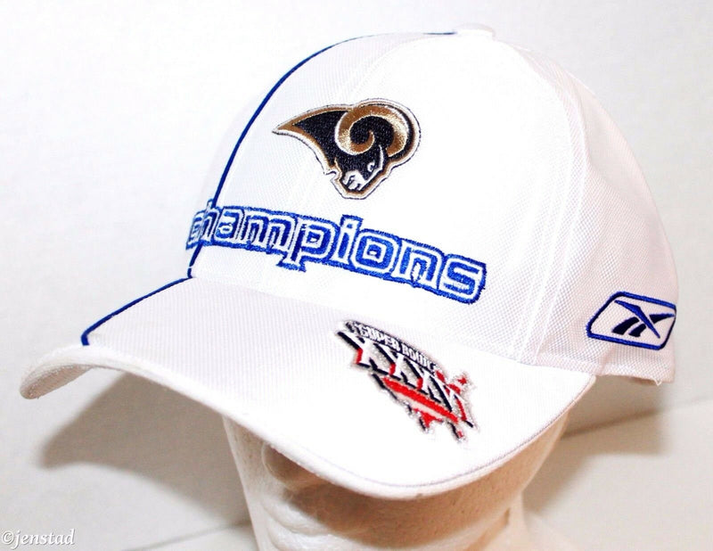 RAMS REEBOK NFL PRO FOOTBALL LEAGUE NFC CONFERENCE CHAMPIONS WHITE CAP HAT 2001