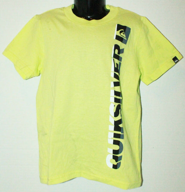 QUIKSILVER LOGO BRAND - KIDS TSHIRT APPAREL YELLOW NEON SHIRT YOUTH SIZE 5 - EZ Monster Deals