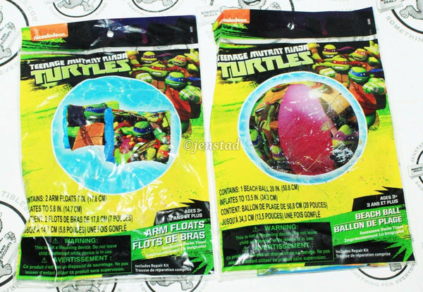 2 LOT - TMNT TEENAGE MUTANT NINJA TURTLES ARM FLOATS & BEACH BALL FOR POOL NEW - EZ Monster Deals