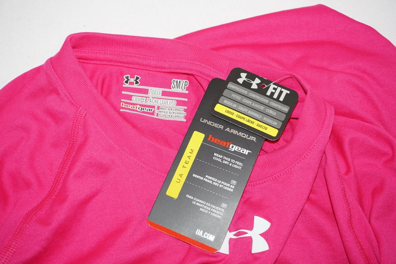 UNDER ARMOUR LOGO'D HEATGEAR - PINK S SHIRT ADULT SMALL 2015 - EZ Monster Deals